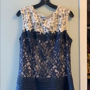 Tadashi Shoji navy and cream lace dress
